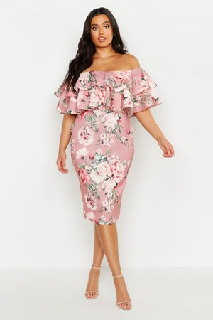 Boohoo Plus Off Shoulder Floral Ruffle Midi Dress, Pink