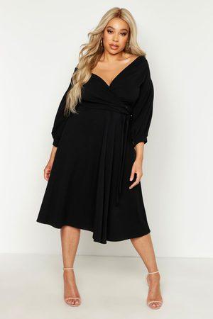 Boohoo Plus Off Shoulder Wrap Midi Dress, Black