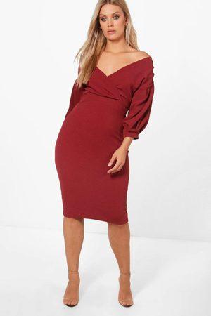 Boohoo Plus Off The Shoulder Wrap Midi Dress, Purple
