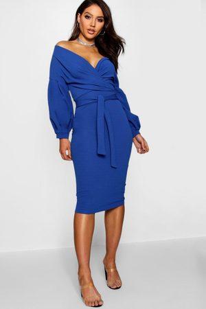 Boohoo Off the Shoulder Wrap Midi Dress, Blue