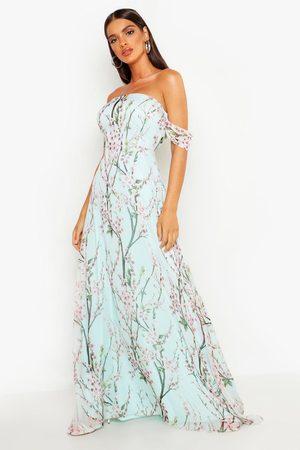 Boohoo Floral Off The Shoulder Maxi Dress, Green