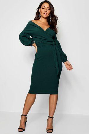 Boohoo Off the Shoulder Wrap Midi Dress, Green