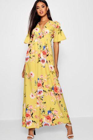 Boohoo Cap Sleeve Shirred Waist Floral Maxi Dress, Yellow