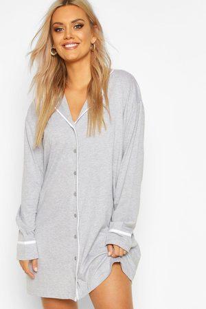 Boohoo Plus - Nattskjorta Med Knappar, Grey