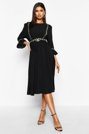 Boohoo Embroidered Ruffle Sleeve Midi Dress, Black