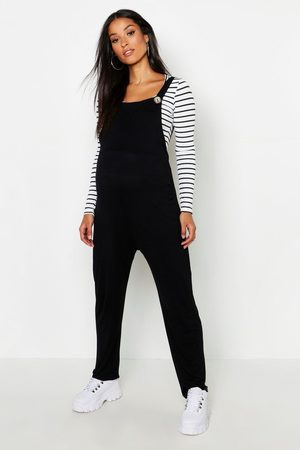 Boohoo Maternity Jersey Lounge Dungaree, Black