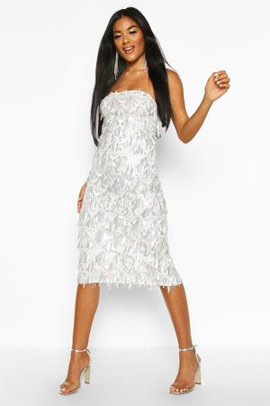 Boohoo Sequin Tassel Bandeau Midi Dress, White