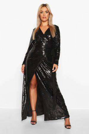Boohoo Plus - Golvlång Paljettklänning, Black