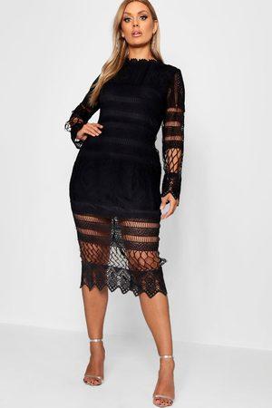 Boohoo Plus Lace Panelled Midi Dress, Black