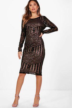 Boohoo Boutique Sequin and Mesh Midi Dress, Black