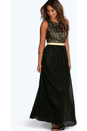 Boohoo Boutique Lace & Metallic Maxi Dress, Black