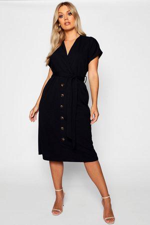 Boohoo Plus Belted Button Down Midi Dress, Black