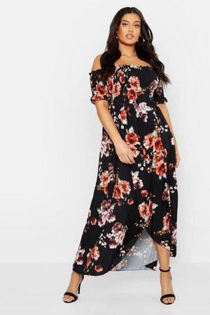 Boohoo Plus Floral Off Shoulder Maxi Dress, Black