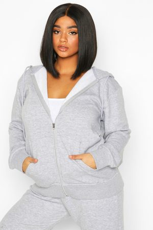 Boohoo Plus - Basic Oversize Hoodie Med Lång Dragkedja, Grey