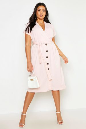 Boohoo Plus Belted Button Down Midi Dress, Pink