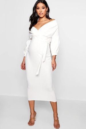 Boohoo Maternity Off The Shoulder Wrap Midi Dress, White