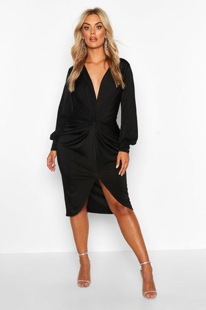 Boohoo Plus Twist Front Plunge Midi Dress, Black