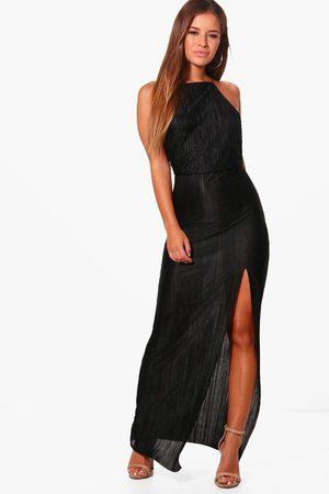 Boohoo Petite Pleated Thigh Split Maxi Dress, Black