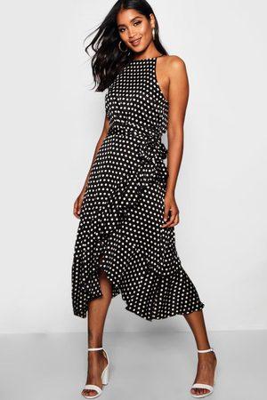 Boohoo Satin Polka Dot Frill Detail Midi Dress, Black