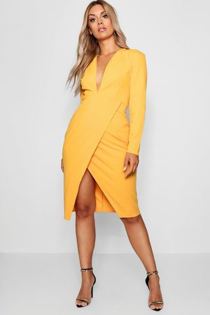 Boohoo Plus Plunge Wrap Midi Dress, Yellow