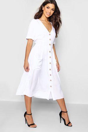 Boohoo Button Front Pocket Detail Midi Dress, White