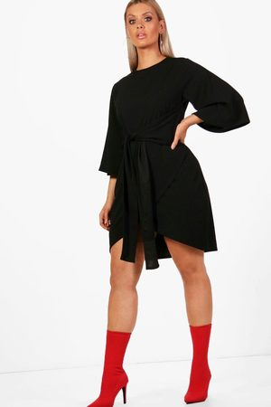 Boohoo Plus Kimono Sleeve Tie Waist Wrap Dress, Black