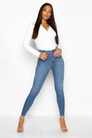 Boohoo Butt Shaper High Rise Stretch Skinny Jean, Blue