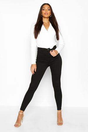 Boohoo Butt Shaper High Rise Stretch Skinny Jean, Black