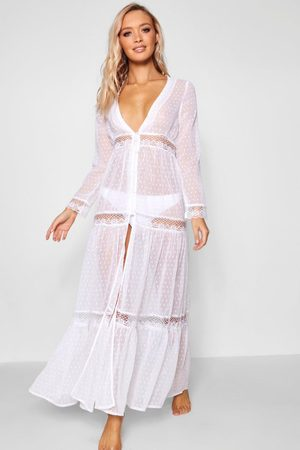 Boohoo Boho Lace Beach Dress, White