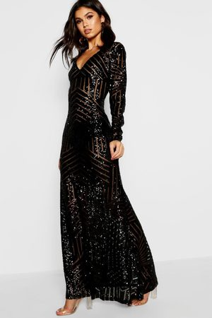 Boohoo Boutique Sequin & Mesh Maxi Dress, Black
