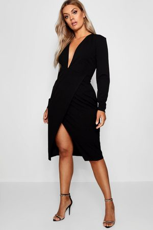 Boohoo Plus Plunge Wrap Midi Dress, Black