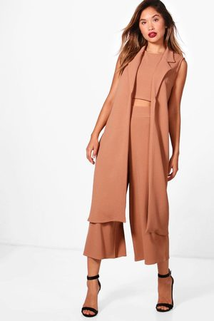 Boohoo 3 Piece Crop Culotte & Duster Co-Ord Set, Brown