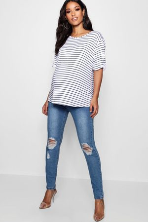 Boohoo Maternity Over The Bump Distressed Knee Skinny Jeans, Blue