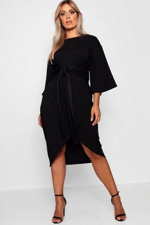 Boohoo Plus Kimono Sleeve Wrap Over Midi Dress, Black