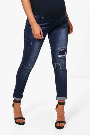 Boohoo Maternity Ripped Detail Skinny Jean, Blue