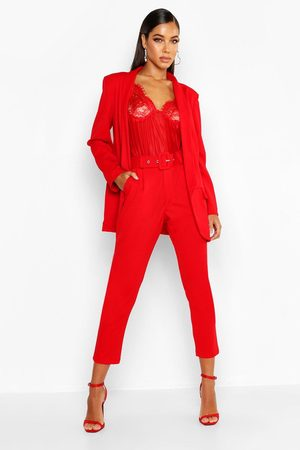 Boohoo Self Belt Tailored Trouser, Red