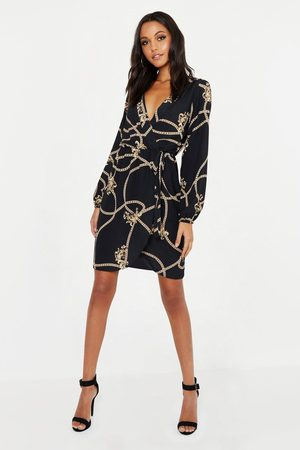 Boohoo Tall Chain Mixed Print Wrap Midi Dress, Black
