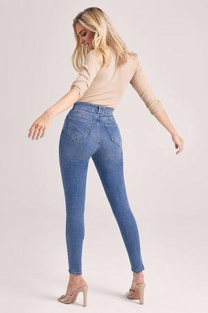 Boohoo Butt Shaper Mid Rise Skinny Jeans, Blue
