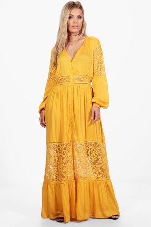 Boohoo Plus - Maxiklänning I Boho-Stil Med Spetspaneler, Yellow