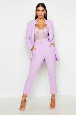 Boohoo Self Belt Tailored Trouser, Purple