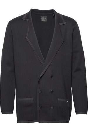 Scotch&Soda New Longer Length Double Breasted Knitted Blazer Stickad Tröja Cardigan Blå