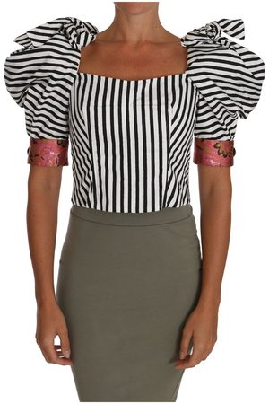 Dolce & Gabbana Striped Cropped Top Puff Sleeve Shirts