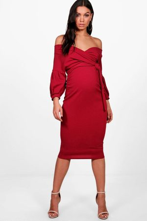 Boohoo Maternity Off The Shoulder Wrap Midi Dress, Red