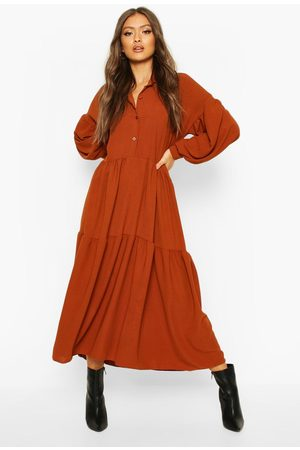 Boohoo Oversized Tiered Maxi Shirt Dress, Brown