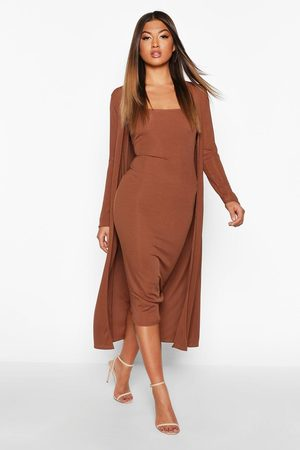 Boohoo Ribbed Midi Dress & Duster Set, Brown