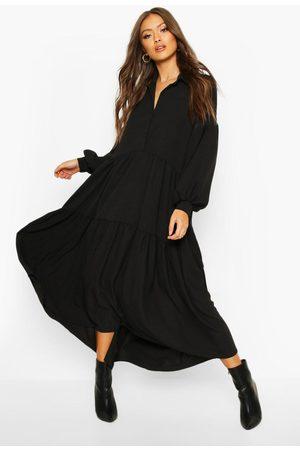 Boohoo Lång Oversize Skjortklänning I Flera Lager, Black