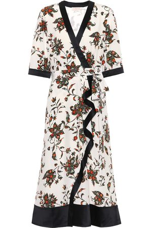 Tory Burch Floral silk midi wrap dress
