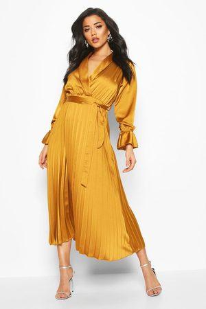 Boohoo Satin Pleated Midaxi Dress, Yellow