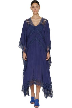 Self-Portrait Lace Viscose Chiffon Midi Dress