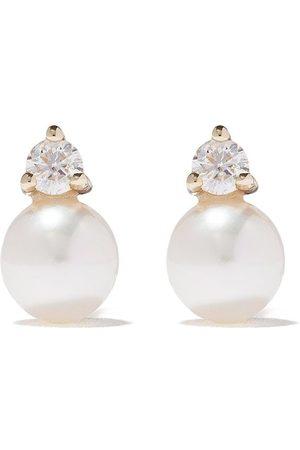 Mizuki Stiftörhängen i 14K guld med pärla och diamant